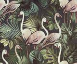 Seamless pattern with tropical leaves and pink flamingos. Tropical  background. - 266131396