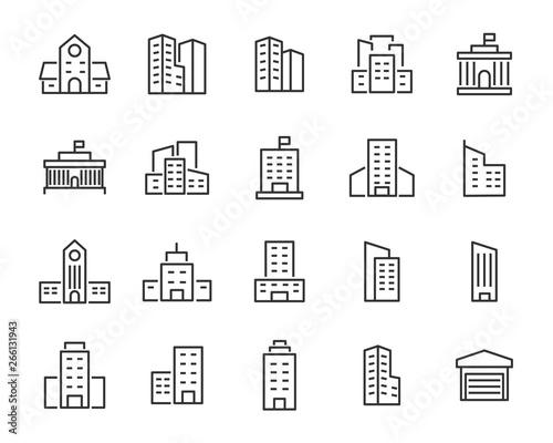 Photo set of building icons, such as city, apartment, condominium, town