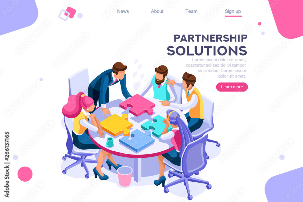 Fototapeta Project pieces, communication, collaboration, partnership solution. Together images, teamwork concept. Can use for web banner, infographics, hero images. Flat isometric vector illustration.