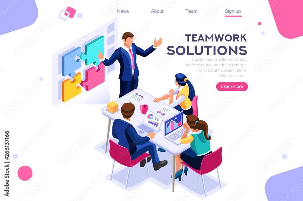 Fototapeta Teamwork images, together solutions, partnership collaboration and communication. Pieces of project concept. Can use for web banner, infographics, hero images. Flat isometric vector illustration.