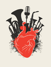Vector Music Poster With Red H...
