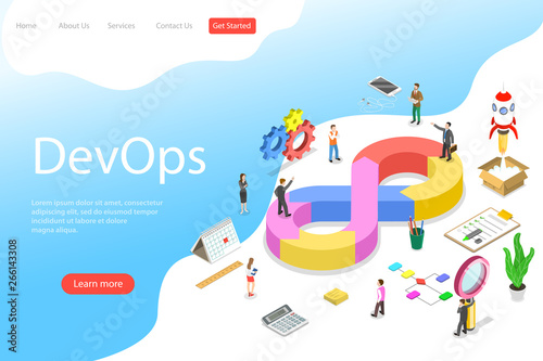 Fototapeta Isometric flat vector landing page template of DevOps, development and operations, software development, testing and support. obraz