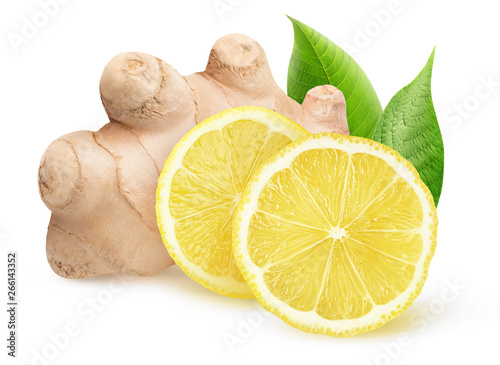 Isolated ginger and lemon pieces. Natural medicine, antiflu ingredients isolated on white background with clipping path - 266143352