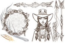 Girl In A Cowboy Hat Illustration For Coloring. Portrait Of A Beautiful Woman. Country Style For T-shirt Design Or Print. A Set Of Outline Illustrations With Sketches Of Tattoos.