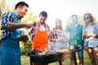canvas print picture - Friends enjoying bbq party and having fun
