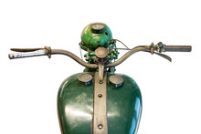 Old Green Motorcycle, Handlebars With Cistern. Retro Motorbike Isolated On White Background.