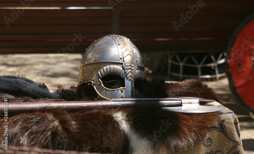 HELMET AND MEDIEVAL AXE Canvas Print