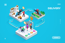Delivery Or Logistic Isometric Banner Or Sign For Business Company. Stages Of Online Shop Order - Internet Order, Warehouse Packaging, Motorbike Delivers, Home Receiving. Shipment And Delivery Service