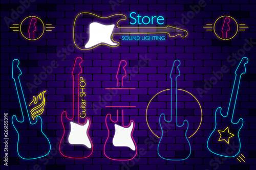 Anuncios para tienda de guitarras Canvas Print