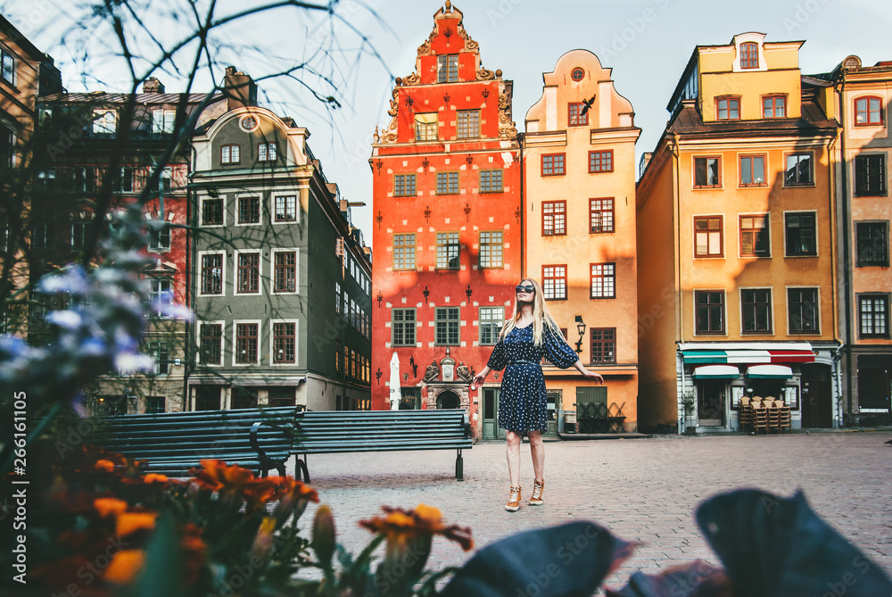Fototapety, obrazy: Young woman traveling in Stockholm sightseeing Gamla Stan Stortorget architecture lifestyle summer vacations in Sweden