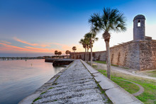 St Augustine Fort At Sunset In...