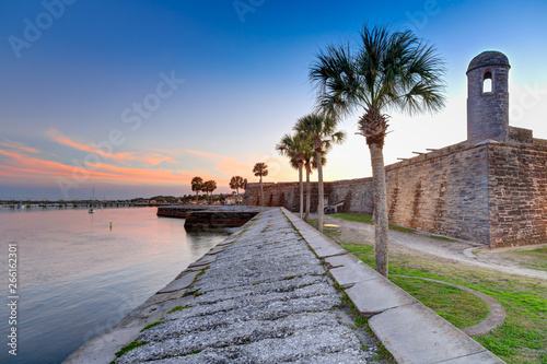 St Augustine fort at sunset in March Canvas Print