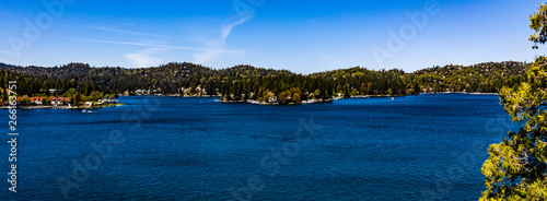 Beautiful, panoramic, drone view of historical Lake Arrowhead, California Wallpaper Mural