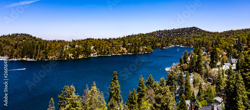 Beautiful, panoramic, drone view of historical Lake Arrowhead, California Canvas Print