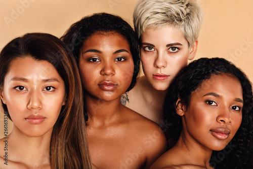 Beauty portrait of multiracial women in studio