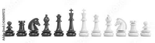 Obraz 3D Rendering all chess pieces isolated on white background - fototapety do salonu