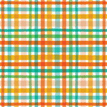 Colorful Hand Drawn Tartan Plaid Gingham Pattern. Seamless Vector Background. Uneven Wonky Textured Lines. Organic Classic Abstract Geo Fashion Print. Autumn Season Fall Colors On White Backdrop.