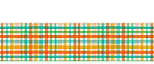 Colorful Hand Drawn Tartan Plaid Gingham Border Pattern. Seamless Vector Background. Uneven Wonky Textured Lines. Classic Abstract Geometric Banner. Autumn Season Fall Colors. Ribbon Trim Washi Tape.