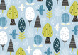 北欧風鳥と木の柄水色