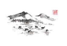 Japanese Style Sumi-e Mountain...