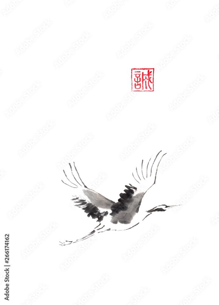 Fototapeta Flying crane Japanese style original sumi-e ink painting.