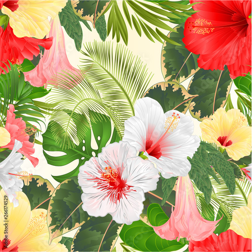Seamless Texture Tropical Flowers Floral Arrangement With White Red