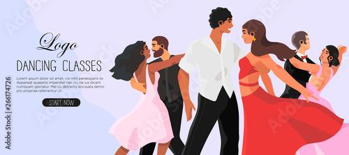 Fotografie, Obraz Vector illustration of a dancing studio rehearsal