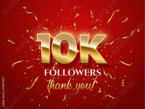 10000 followers celebration vector banner with text Fototapet