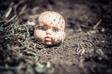 Children Doll Head With Blue Eyes Lies On Ground.