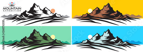 Canvas Print The mountain expedition set of the tallest peaks and sunsets