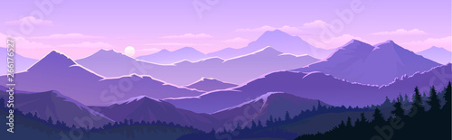 Keuken foto achterwand Purper Violet skies and the vast mountain lands with trees, forests.