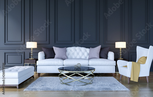 Fototapety, obrazy: Modern classic luxury living room interior background, 3D Rendering