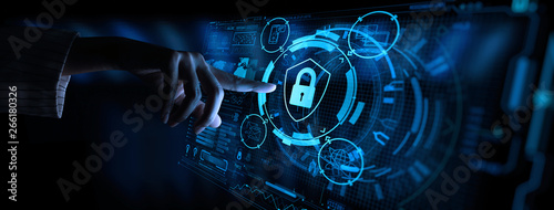 Fotografie, Obraz  Data protection Cyber Security Privacy Business with Woman hand pointing with UI
