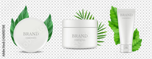 Vector organic cosmetics tube and tube boxes with green leaves vector isolated on transparent background Slika na platnu