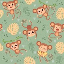 Monkey Pattern. Wild Little An...