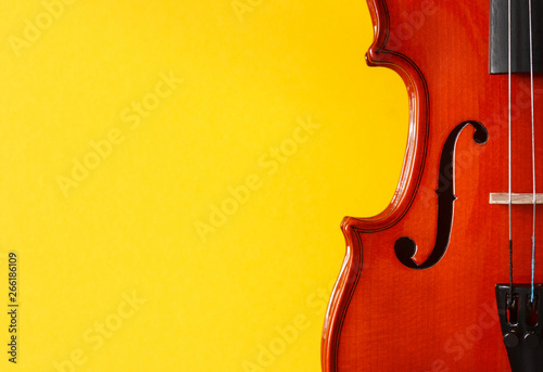 Classical music festival poster with violin on yellow background - 266186109