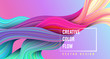 Modern colorful flow poster. Wave Liquid shape on multycolor background.