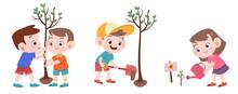 Kids Planting Tree Vector Illu...