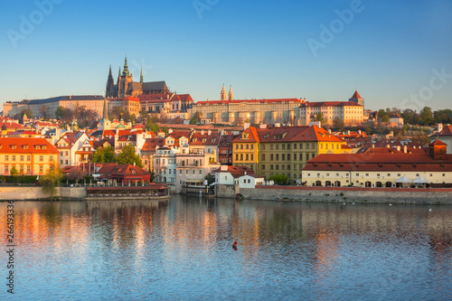 Poster Prague Beautiful old town and the castle in Prague at sunrise, Czech Republic