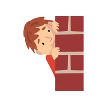 Boy Hiding Behind Brick Wall And Peeping Cartoon Vector Illustration