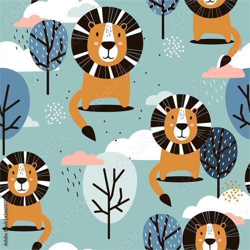 lwy-drzewa-i-chmury-recznie-rysowane-tla-kolorowy-wzor-ze-zwierzetami-dekoracyjna-sliczna-tapeta-dobra-do-drukowania-nakladajace-sie-kolorowe-tlo-wektor