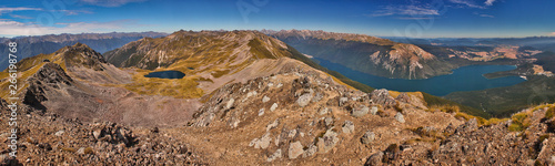 Panoramatic view of Nelson Lakes national park from Parachute Lookout, New Zeala Canvas Print