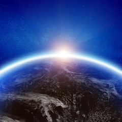 Earth clouds space background