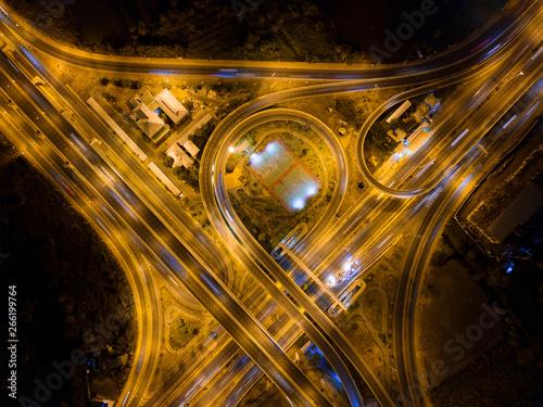 Aerial View Of Highway Junctions Bridge Roads Shape Number