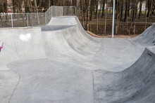 Skatepark Made Of Concrete Wit...