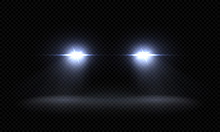 Realistic Car Headlights. Trai...