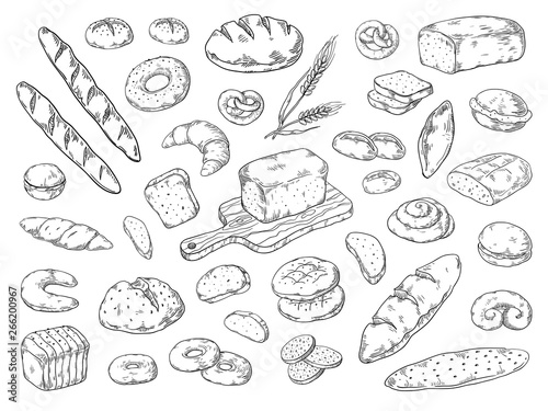 Hand drawn bakery Fototapet