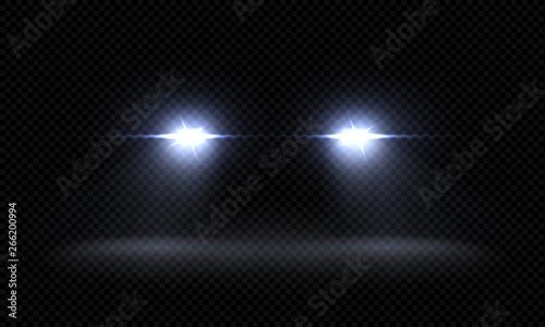 Obraz Realistic car headlights. Train front light beams, transparent bright glowing light rays, night road light effects. Vector 3d led lights - fototapety do salonu