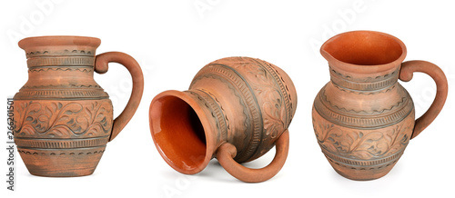 Foto Collection clay jugs from different angles isolated on white