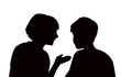 talking heads silhouette vector